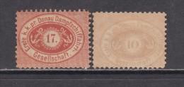 COMPAGNIE DANUBIENNE DE NAVIGATION � VAPEUR ,  1866 - 1870   YVERT  N� 1 , 2