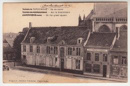 Poperinge Poperinghe, ruinen op de markt, A La Maison de ville, estaminet et billard, A La Fontaine (pk22225)