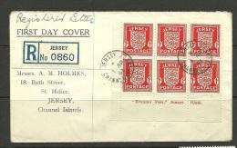 Dt. Besatzung 1941 JERSEY Registered Ersttagsbrief FDC Mit 6-Block Michel 2 Bogenecke Mit Schrift - Ocupación 1938 – 45