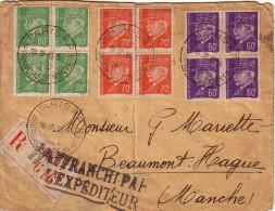 PARIS -AFFRANCHISSEMENTS - RECOMMANDE DU 13-5-1942 - COLLECTION AU TYPE PETAIN - AFFRANCHISSEMENT AVEC 3 BLOCS DE 4 - Postmark Collection (Covers)