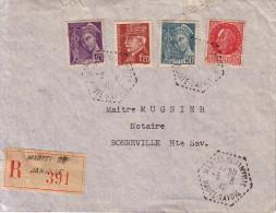 HAUTE SAVOIE - MARTEL DE JANVILLE - RECOMMANDE DU 6-6-1947 - COLLECTION AU TYPE PETAIN - Postmark Collection (Covers)