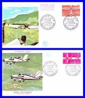 1340-1341 (Yvert) Sur 2 FDC (PJ) Toussus-le-Noble - Aviation Légère Et Sportive - France 1962 - FDC
