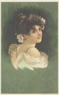 Illustration: JOLIE JEUNE FEMMEaux Yeux Brillants - Art Nouveau - Repro D'une Carte Ancienne. - Femmes