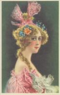 Illustration: JEUNE FEMMEaux Cheveux Bien Décorés - Art Nouveau - Repro D'une Carte Ancienne. - Illustrateurs & Photographes
