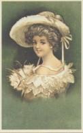 Illustration: JOLIE JEUNE FEMMEau Beau Chapeau - Art Nouveau - Repro D'une Carte Ancienne. - Non Classés