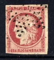 1 Fr Carmin  Yv  6   Oblitération étoile De Paris Petit Pelurage Dans La Chevelure Sinon Superbe - 1849-1850 Cérès