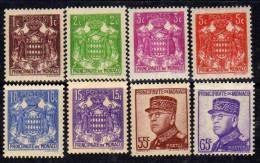 Monaco N° 154 / 66  XX  :15ème Anniversaire De L'avènement Du Prince Louis II Les 14 Valeurs Sans Charnière  TB - Monaco
