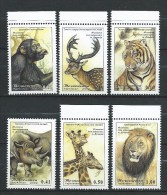 Tajikistan 2002 Mih. 220/25 Fauna. Dushanbe Zoo MNH.tiger, Monkey, Giraffe, Rhino, Lion - Tadjikistan