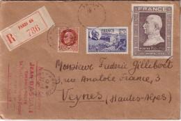 PARIS - LETTRE RECOMMANDEE BEL AFFRANCHISSEMENT 3 EMISSIONS PETAIN-  COLLECTION AU TYPE PETAIN - Postmark Collection (Covers)