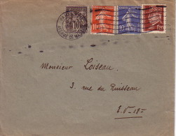 PARIS - AVENUE DE WAGRAM - AFFRANCHISSEMENT - SAGE -SEMEUSE - PETAIN - COLLECTION AU TYPE PETAIN. - Postmark Collection (Covers)