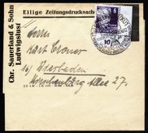 A3277) SBZ Streifband Eilige Zeitungsdrucksache von Schwerin 21.6.1950 mit Eckrandst�ck Mi.213