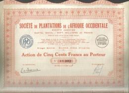 Societè De Plantations De L'afrique Occidentale Action De 500 Francs 1933  Doc.181 - Afrique