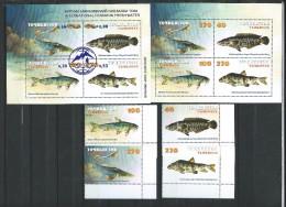 Tajikistan Stamp Fish Set + Blockset MNH 2000/ 2003. Mi 167-170 + 3 S/S.MNH.( 2 Scans ) - Tadjikistan
