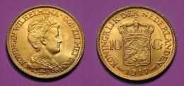 PAYS-BAS - NETHERLANDS - 10 GULDEN 1917 WILHELMINA I - OR - GOLD **** EN ACHAT IMMEDIAT - [ 8] Monnaies D'or Et D'argent