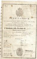 CARTA DI PASSAGGIO 10 MAGGIO 1857 COSTO 5 GRANA FERDINANDO II° RE DELLE 2 SICILIE  Doc.184 - Decreti & Leggi