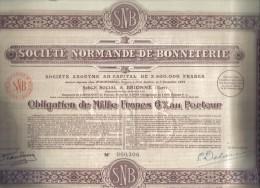 SOCIETE' NORMANDE DE BONNETERIE OBLIGATION DE 1000 FRANCS BRIONNE 1924  Doc.185 - Azioni & Titoli