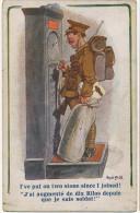 Guerre 1914 WWI Tommy Soldat Anglais Se Pesant Ayant Pris 10 Kilos De Barda Par Donald Mac Gill - Patriotiques
