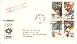 USA Complete Set In Block Of 4 On Cover With First Day Cancel Lake Placid JAN 6 1984 - Winter 1984: Sarajevo