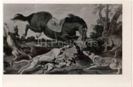 Painting By Paul De Vos - Enraged Horse - Dog - Dutch Art - Unused - Peintures & Tableaux