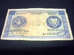 CHYPRE 250 Mils 01/07/1975 ,pick  N° KM 41c , CYPRUS - Chypre
