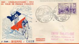 """France ;FDC 1953 ; """" Tour De France 5ème étape;Dieppe-Caen """" - 1950-1959"""