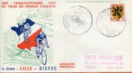 """France ;FDC 1953 ; """" Tour De France 4ème étape;Lille-Dieppe """" - 1950-1959"""