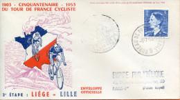 """France ;FDC 1953 ; """" Tour De France 3ème étape;Liège-Lille """" - 1950-1959"""