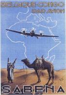 Postcard - Poster Reproduction - SABENA Belgique-Congo Par Avion 1930s - Publicité