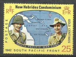 New Hebrides - 1967 Pacific War (zone Map) 25c MNH **       SG 126  Sc 124 - English Legend