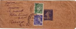 BOUCHES DU RHONE - AIX POUR TARASCON -BANDE DE JOURNAL SEMEUSE AVEC PETAIN ET MERCURE - COLLECTION AU TYPE PETAIN - Postmark Collection (Covers)