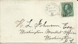 ESTADOS UNIDOS USA NEW YORK CC 1878 A WASHINGTON AL DORSO MAT AZUL CARRIER - 1847-99 Emisiones Generales