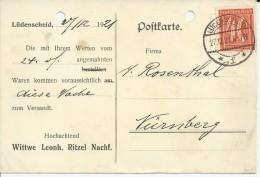 ALEMANIA REICH 1921 LÜDENSCHEID AGUJEROS ARCHIVO - Briefe U. Dokumente