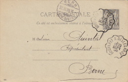 Carte Entier Sage Ambulant Bouveret A Bellegarde (Suisse) >> Suisse - Postmark Collection (Covers)
