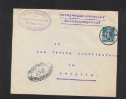 Lettre Colmar 1919 Pour Leipzig Controle - Poststempel (Briefe)