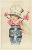 Illustration: JEUNE FEMME Et Vase De Fleurs - Art Nouveau - Repro D'une Carte Ancienne. - Illustrateurs & Photographes