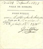 13 Décembre 1833 - Ville De ROMANS (79) - Reçu Du POIDS PUBLIC - Documents Historiques