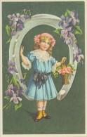 Illustration: FILLETTE Dans Un Fer à Cheval Garni De Fleurs - Art Nouveau - Repro D'une Carte Ancienne. - Autres