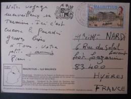 Maurice Carte De 1978 Pour Hyeres - Mauritius (1968-...)