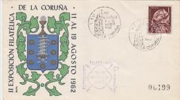 26021- LA CORUNA PHILATELIC EXHIBITION, COAT OF ARMS, SPECIAL COVER, 1962, SPAIN - 1931-Aujourd'hui: II. République - ....Juan Carlos I