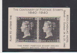 Great Britain The Centenary Of The First Postage Stamps Sheet & Cadillac Hotel Oct 24-1940 - Prove & Ristampe