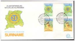 Surinam / Suriname 1983 FDC 72 BP map landkarte carte de Surinam gutterpair