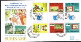 Surinam / Suriname 1989 FDC 133xx BPA Washington d.c. (upu) White house  gutterpair