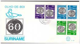 Surinam / Suriname 1993 FDC 167 TB brasiliana olho de boi stamp on stamp gutterpair