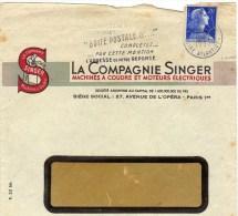 Singer, La Compagnie Singer, Paris, Machines à Coudre, Sur Enveloppe - Publicités