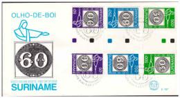 Surinam / Suriname 1993 FDC 167 TBA brasiliana olho de boi stamp on stamp gutterpair