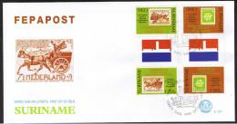 Surinam / Suriname 1994 FDC 177 TBA FEPAPOST postkoets mail-coach timbre sur timbre gutterpair