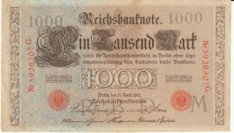 Germany #44b, 1000 Marks Banknote Money Currency, 21 April 1910 Date - [ 2] 1871-1918 : Duitse Rijk