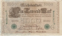 Germany #45b, 1000 Marks Banknote Money Currency, 21 April 1910 Date - [ 2] 1871-1918 : Duitse Rijk