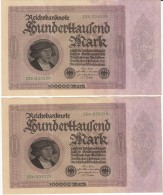Lot Of Two, Germany #83a, 100000 Marks Consecutive Serial Numbers Banknotes Money Currency, 1 February 1923 Date - [ 3] 1918-1933: Weimarrepubliek