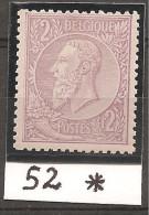 N°52* Neuf Avec Trace De Charnière - 1884-1891 Leopold II